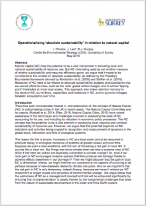 operationalising absolute sustainability in relation to natural capital