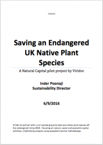 Saving an Endangered UK Native Plant Species